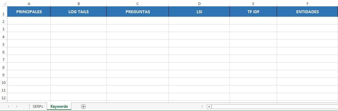 tabla excel palabras clave