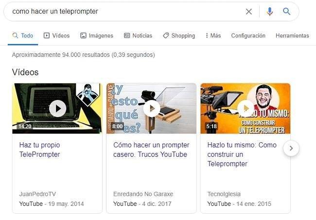 Carrousel de vídeos de Youtube