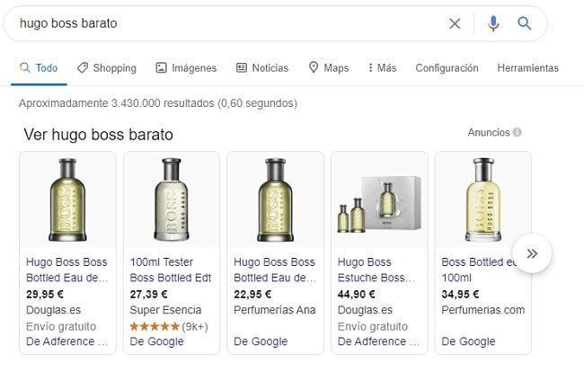 Google Shopping con listado de productos