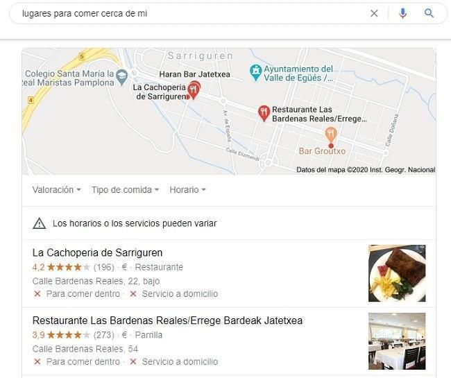 Destacado de Local Pack con negocios locales y mapa