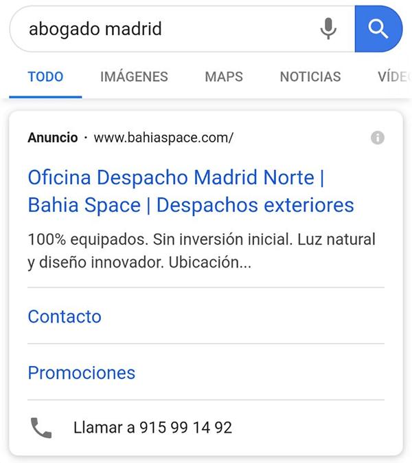 Anuncios Call-only ads de Google serps