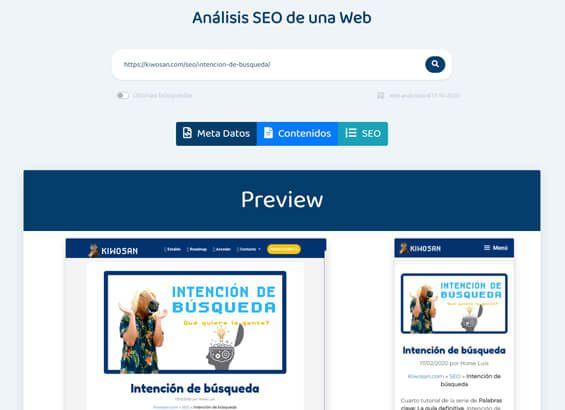 Análisis SEO de una web: Preview
