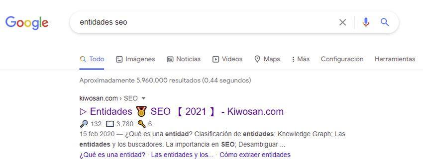 keyword entidades seo en Google