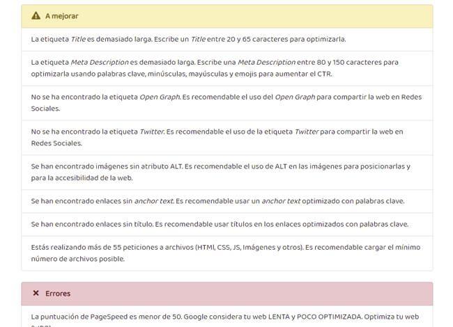 analisis seo web recomendaciones tareas seo