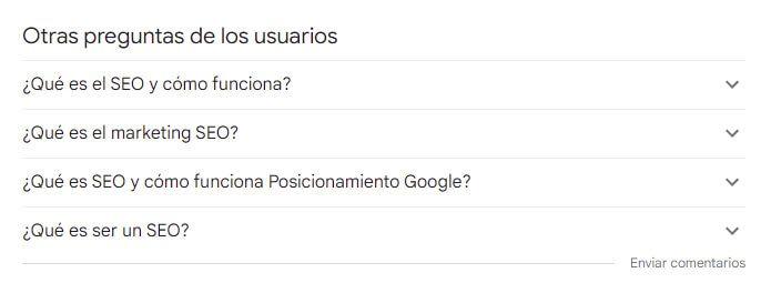 Otras preguntas de los usuarios ofrecidas por Google para Que Es SEO