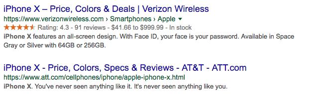 Rich snippet de review en la serp con la valoración del Iphone