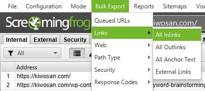Analizar y descargar enlaces internos desde Screaming Frog
