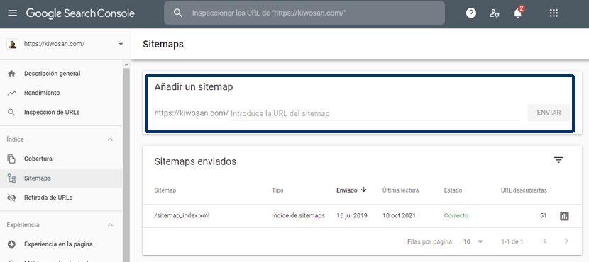 Enviar un Sitemap a Search Console