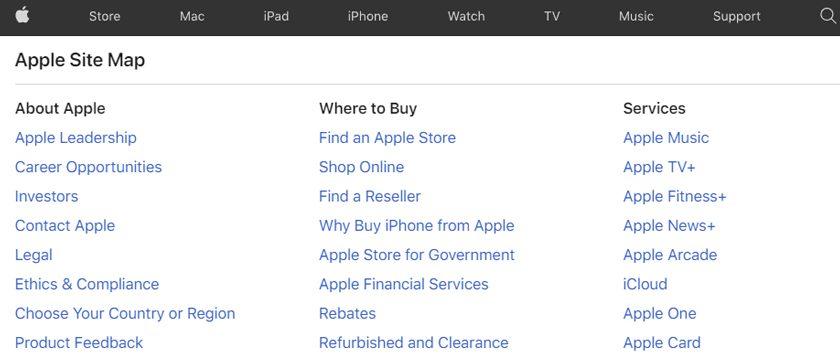 Sitemap HTML de Apple.com